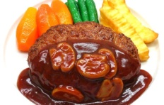 Replica of cutlet with mushroom sauce and vegetables