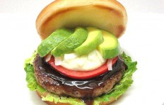 Avocado hamburger replica