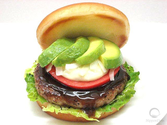 Avocado hamburger replica