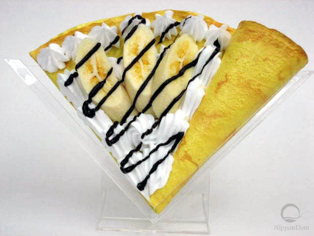 Fake pancake with banana w. cream & chocolate