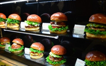 """Gourmet Burger Kitchen"". Display window."