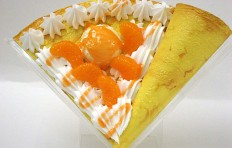 Fake pancake with mandarin and ice cream