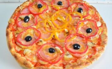 Plastic replicas of pizza