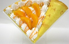 Fake pancake with peach and cream-2