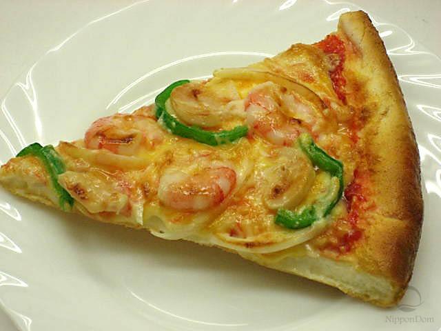 A slice of shrimp pizza
