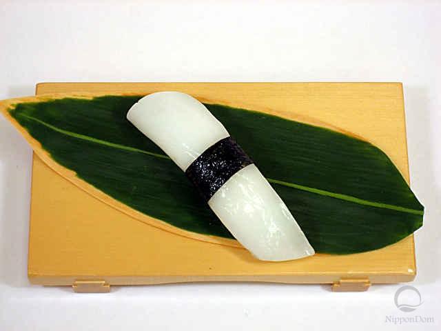 """Replica of sushi """"squid (4) with nori seaweed"""""""