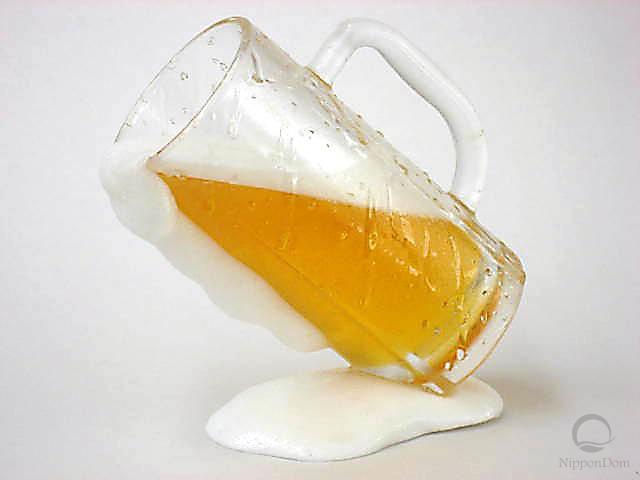 Tilted mug of beer
