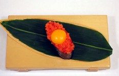 Tobiko with quail egg yolk-1