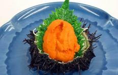 Sea urchin roe with a green leaf