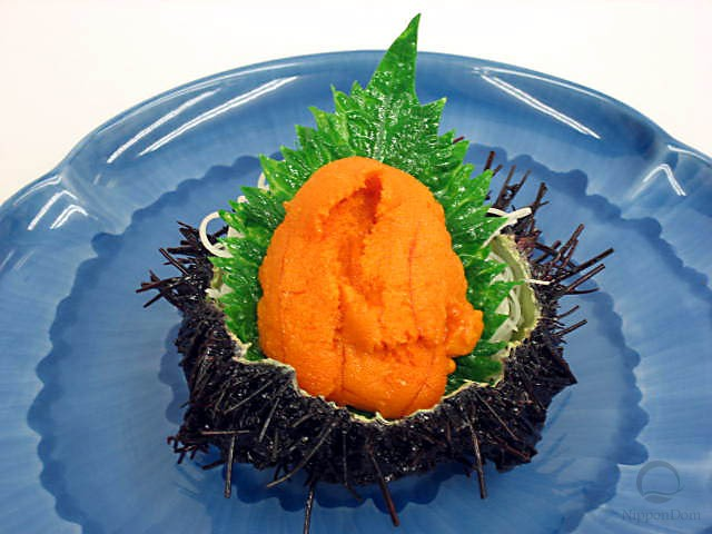 Sea urchin roe with a green leaf