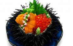 Sea urchin roe with salmon roe